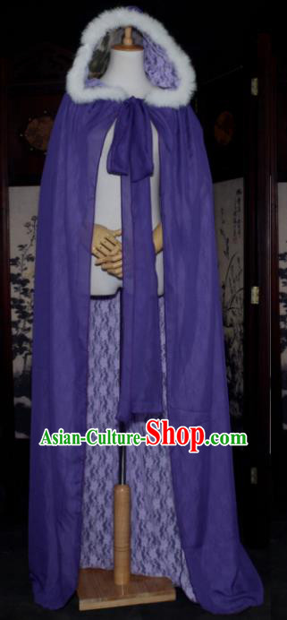 Chinese Ancient Cosplay Tang Dynasty Chivalrous Lady Fairy Cloak, Chinese Traditional Purple Hanfu Cape Clothing Chinese Cosplay Swordswoman Costume for Women