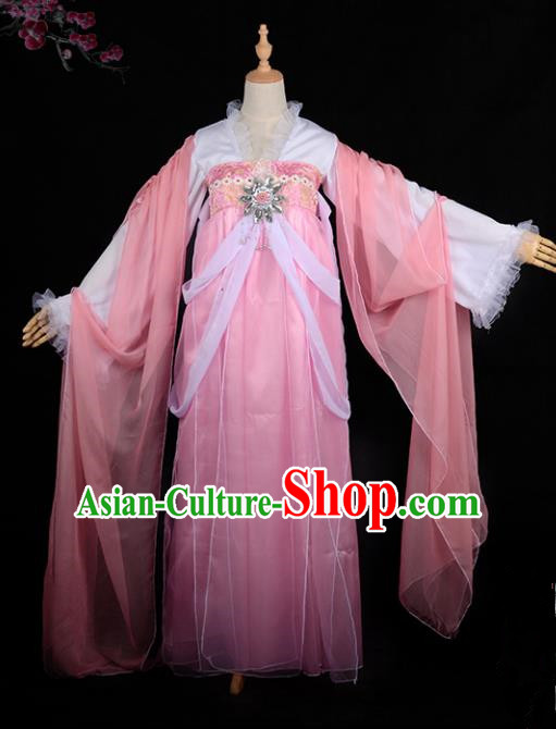 Chinese Ancient Cosplay Tang Dynasty Imperial Concubine Costumes, Chinese Traditional Fairy Pink Dress Clothing Chinese Cosplay Palace Lady Costume for Women