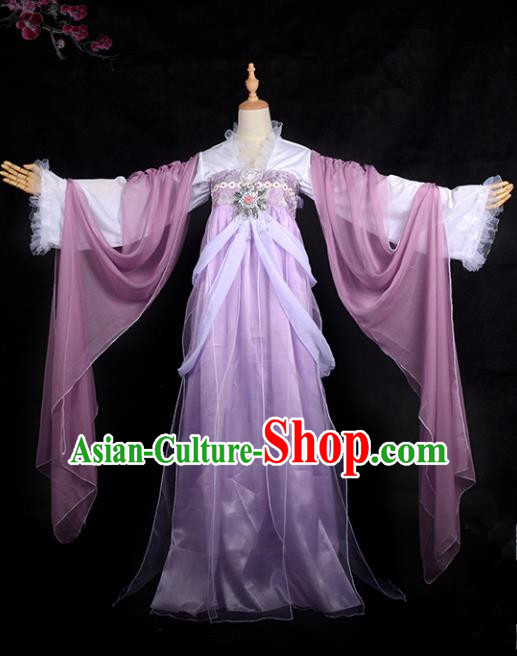 Chinese Ancient Cosplay Tang Dynasty Imperial Concubine Costumes, Chinese Traditional Fairy Purple Dress Clothing Chinese Cosplay Palace Lady Costume for Women