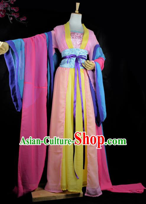 Chinese Ancient Cosplay Tang Dynasty Imperial Princess Costumes, Chinese Traditional Hanfu Blue Dress Clothing Chinese Palace Lady Dance Costume for Women