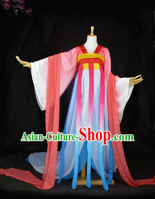 Chinese Ancient Cosplay Tang Dynasty Imperial Princess Fairy Costumes, Chinese Traditional Hanfu Red Dress Clothing Chinese Palace Lady Dance Costume for Women
