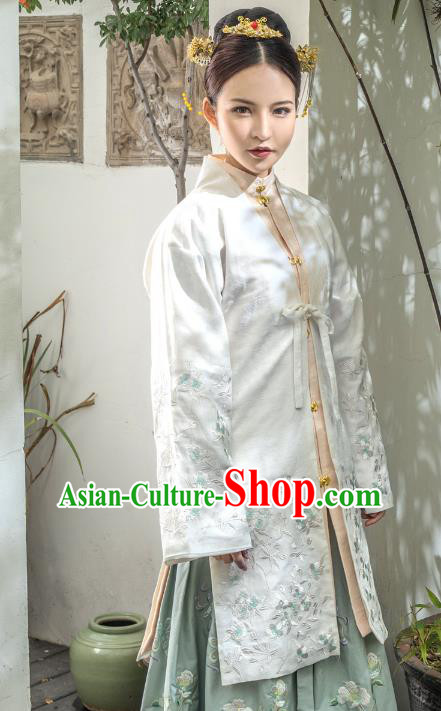 Traditional Ancient Chinese Ming Dynasty Noblewoman Costume Embroidery BeiZi Cloak, Chinese Palace Lady Cardigan Dress Upper Outer Garment for Women