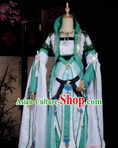 Chinese Ancient Cosplay Tang Dynasty Chivalrous Lady Embroidery Green Dress, Chinese Traditional Hanfu Clothing Chinese Fairy Costume for Women