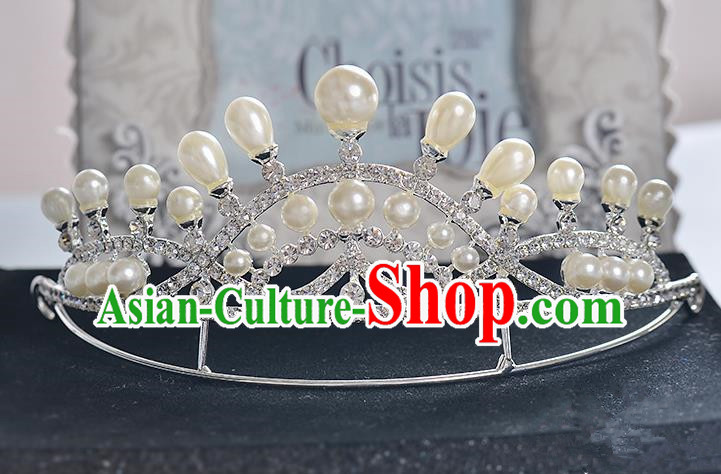 Top Grade Handmade Chinese Classical Hair Accessories Baroque Style Crystal Pearl Princess Royal Crown, Hair Sticks Hair Jewellery Hair Clasp for Women