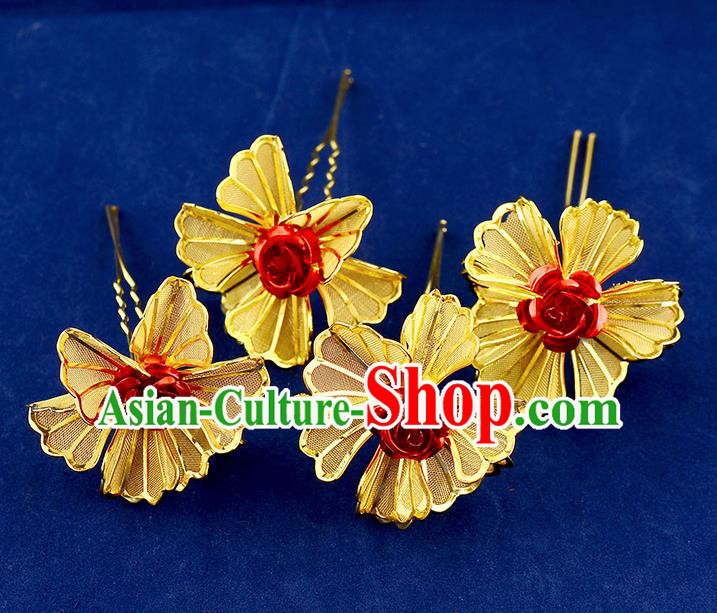 Traditional Handmade Chinese Ancient Classical Hair Accessories Xiuhe Suit Red Rose Golden Flower Hairpin Hair Comb, Hair Sticks Hair Jewellery Hair Fascinators for Women