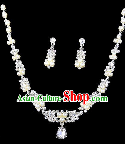 Top Grade Handmade Chinese Classical Jewelry Accessories Baroque Style Crystal Pearls Necklace and Earrings for Women