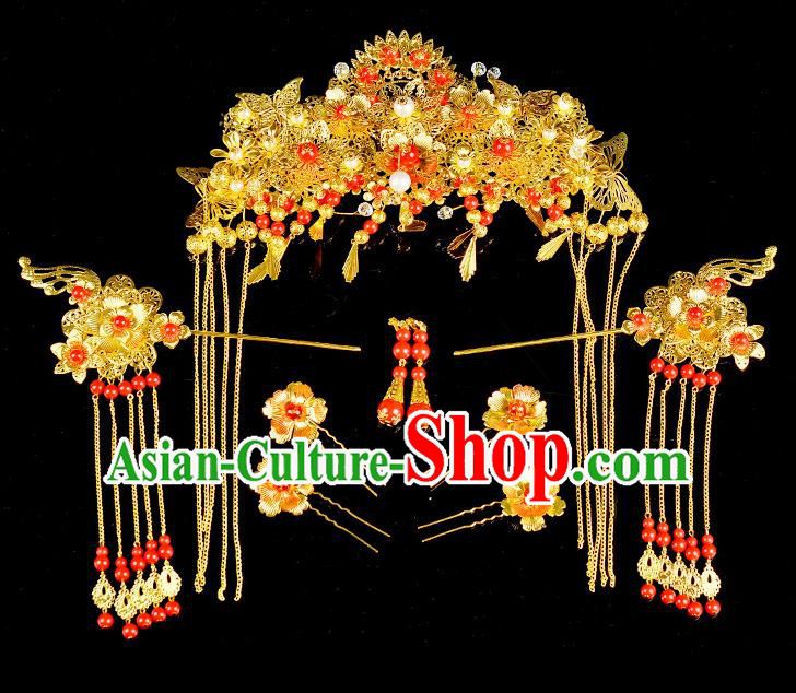 Traditional Handmade Chinese Ancient Classical Hair Accessories Xiuhe Suit Golden Butterfly Tassel Hairpin Phoenix Coronet Complete Set, Hair Sticks Hair Jewellery Hair Fascinators for Women