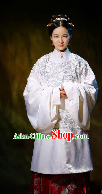 Traditional Ancient Chinese Ming Dynasty Noblewoman Costume Embroidery Wide Sleeve Blouse and Skirt, Chinese Palace Lady Hanfu Dress Upper Outer Garment for Women