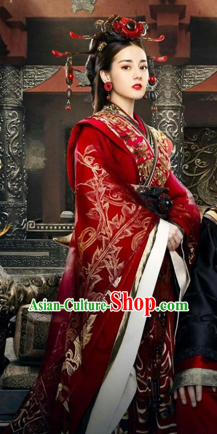 Traditional Ancient Chinese Qin Dynasty Imperial Concubine Embroidery Wedding Costume and Headpiece Complete Set, Chinese The King Woman Palace Lady Hanfu Clothing for Women