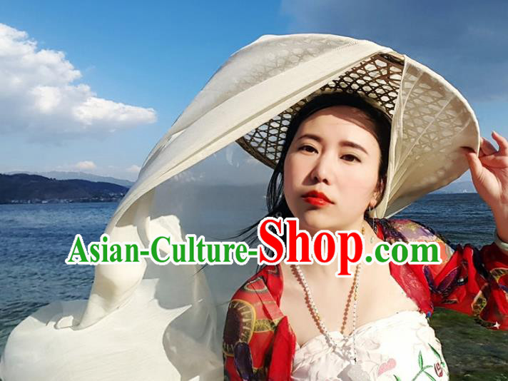 Traditional Handmade Chinese Swordsman Curtained Hat Hair Accessories, China Ancient Bamboo Hat Headwear for Women for Men
