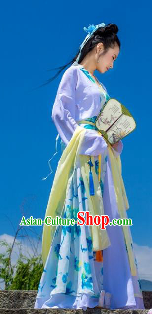 Traditional Chinese Han Dynasty Young Lady Hanfu Costume, China Ancient Dress Princess Peri Embroidery Clothing for Women