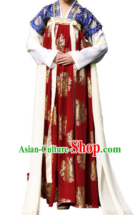 Traditional Chinese Tang Dynasty Imperial Concubine Hanfu Costume, China Ancient Dress Imperial Princess Embroidery Clothing for Women