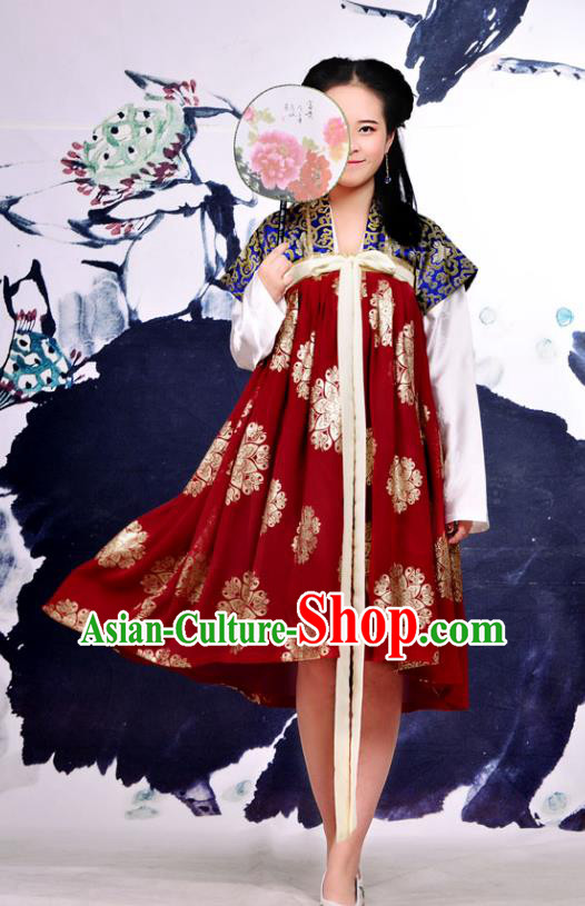 Traditional Chinese Tang Dynasty Imperial Concubine Improve Hanfu Costume, China Ancient Dress Imperial Princess Embroidery Clothing for Women