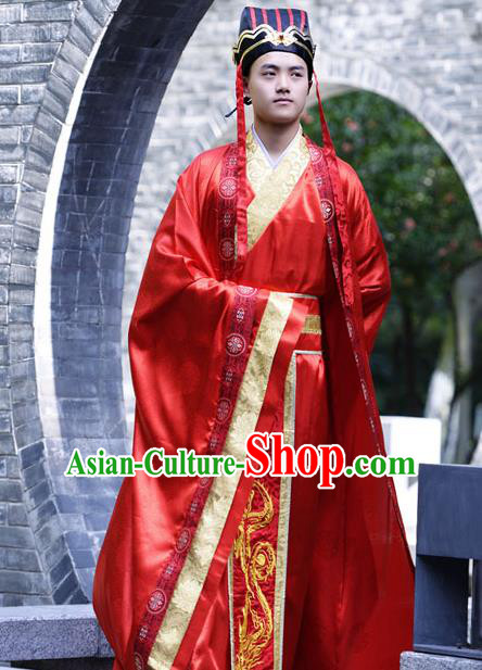 Traditional Chinese Han Dynasty Nobility Childe Hanfu Costume Wedding Red Long Robe, China Ancient Bridegroom Clothing Complete Set for Men