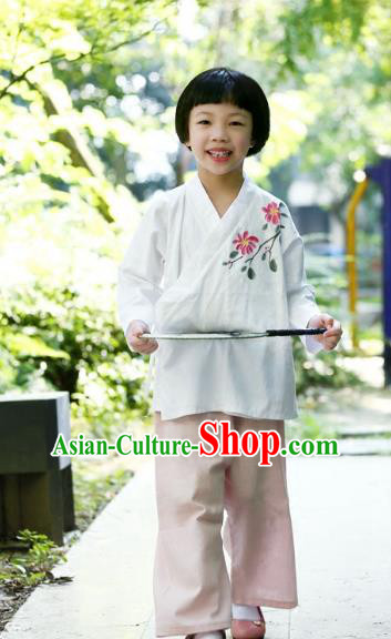 Traditional Chinese Han Dynasty Children Hanfu Costume, China Ancient Martial Arts Hand Painting Clothing for Kids