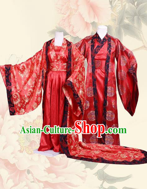 Traditional Chinese Han Dynasty Empress and Emperor Hanfu Costume Wedding Red Long Robe, China Ancient Bride Bridegroom Clothing Complete Set for Women for Men