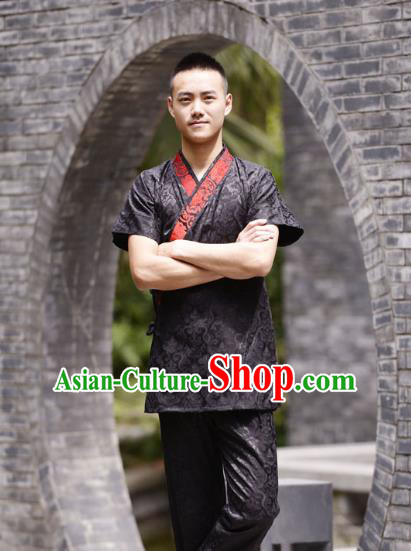 Traditional Chinese Han Dynasty Nobility Childe Hanfu Costume Slant Opening Black Satin Shirt, China Ancient Martial Arts Upper Garment Clothing for Men