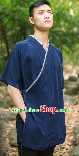 Traditional Ancient Chinese National Costume Hanfu Navy Shirts, China Tang Suit Upper Outer Garment Clothing for Men