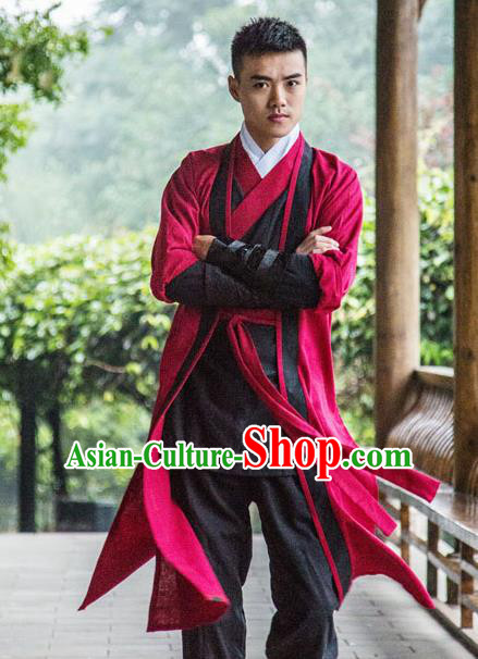 Traditional Chinese National Martial Arts Red Costume, China Ancient Ming Dynasty Jiang hu Swordsman Clothing for Men