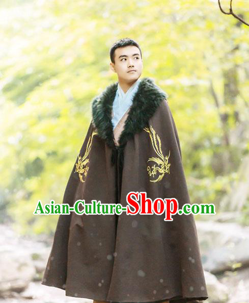 Traditional Chinese Han Dynasty Nobility Childe Hanfu Costume Cloak, China Ancient Scholar Embroidery Cape Clothing for Men