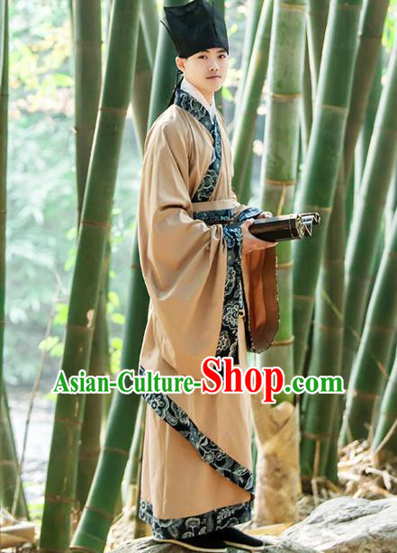 Traditional Chinese Han Dynasty Nobility Childe Hanfu Costume, China Ancient Scholar Curve Bottom Long Robe Clothing for Men