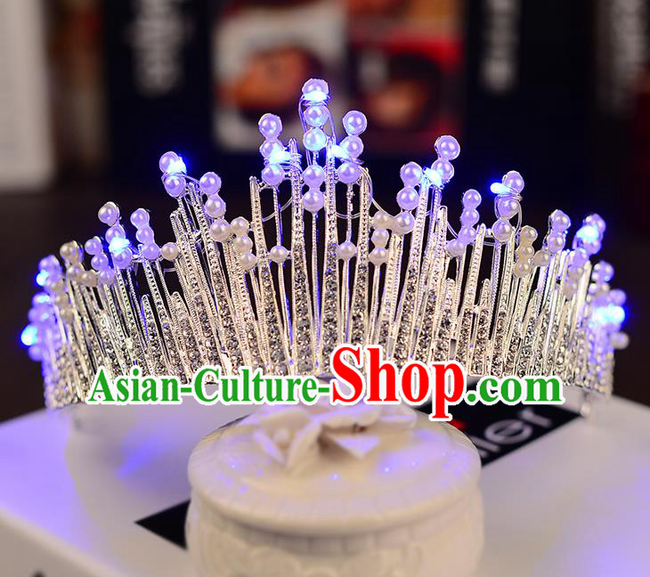 Top Grade Handmade Chinese Classical Hair Accessories Baroque Style Shine Crystal Pearls Queen Royal Crown, Hair Sticks Hair Jewellery Hair Coronet for Women