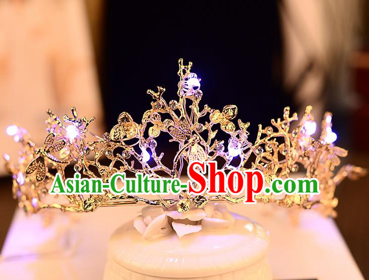 Top Grade Handmade Chinese Classical Hair Accessories Baroque Style Shine Crystal Dragonflys Queen Royal Crown, Hair Sticks Hair Jewellery Hair Coronet for Women