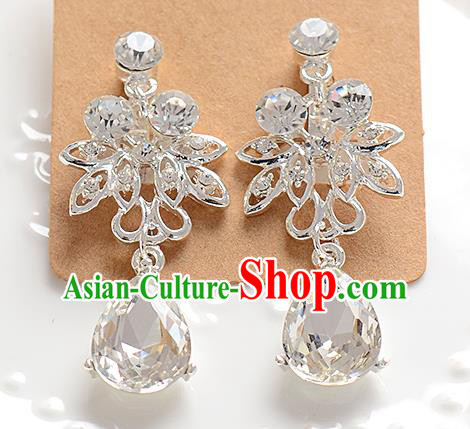 Top Grade Handmade Chinese Classical Jewelry Accessories Baroque Style Crystal Wedding Earrings Bride Eardrop for Women
