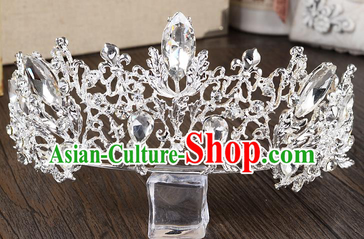 Top Grade Handmade Chinese Classical Hair Accessories Baroque Style Crystal Princess Royal Crown, Hair Sticks Hair Jewellery Hair Coronet for Women