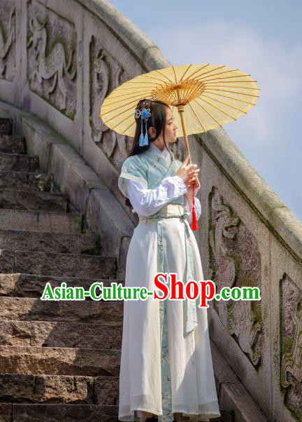 Traditional Chinese Ming Dynasty Young Lady Hanfu Costume, China Ancient Dress Palace Princess Peri Printing Clothing for Women