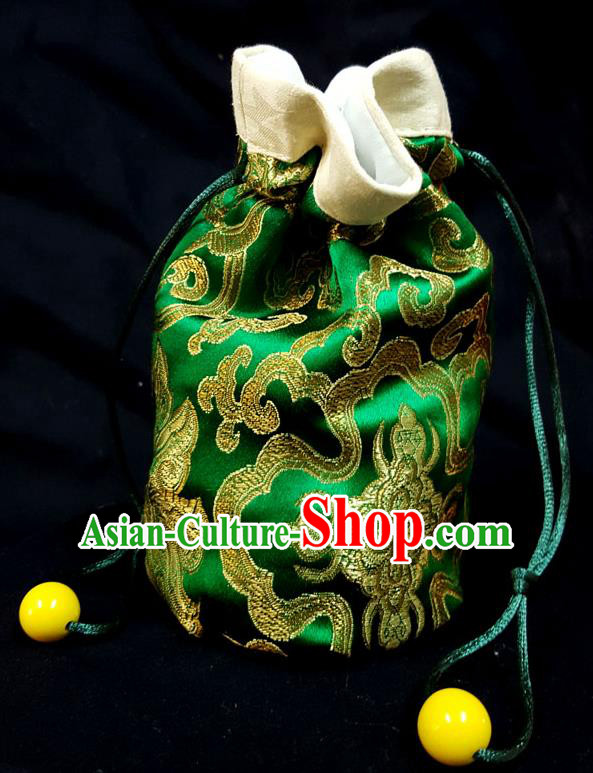 Traditional Handmade Chinese Ancient Young Lady Pouch Green Handbags, China Hanfu Embroidery Satin Sachet for Women