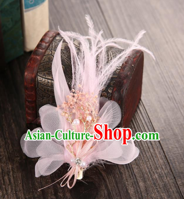 Top Grade Handmade Chinese Classical Hair Accessories Baroque Style Wedding Pink Feather Hair Sticks, Bride Hair Claw Hair Clasp for Women