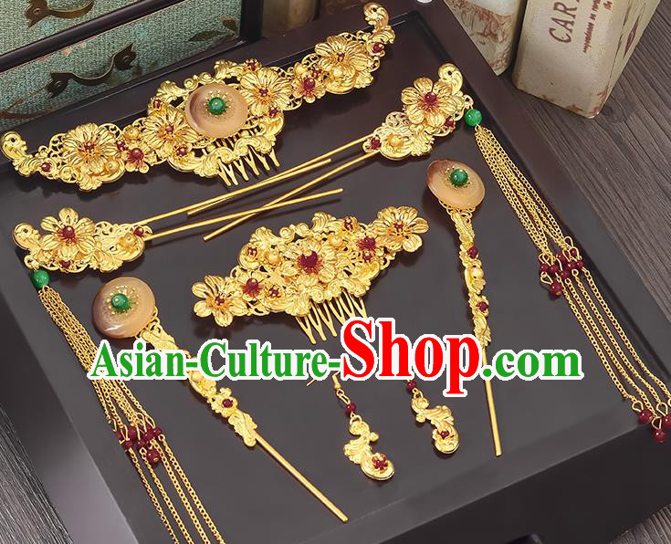 Traditional Handmade Chinese Ancient Classical Hair Accessories Xiuhe Suit Pink Jade Tassel Hairpin Phoenix Coronet Complete Set, Step Shake Hair Sticks Hair Jewellery Hair Fascinators for Women