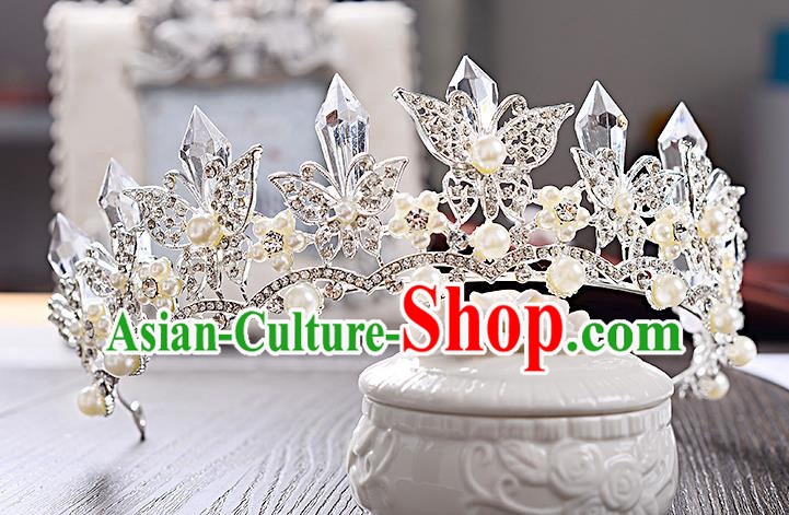Top Grade Handmade Chinese Classical Hair Accessories Baroque Style Crystal Butterfly Wedding Royal Crown, Bride Princess Hair Jewellery Hair Coronet for Women