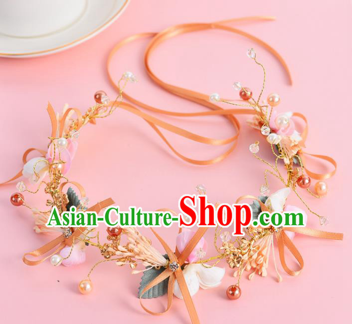 Top Grade Handmade Chinese Classical Hair Accessories Xiuhe Suit Wedding Toast Pink Flowers Hair Clasp Headband Bride Headwear for Women