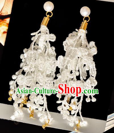 Top Grade Handmade Chinese Classical Jewelry Accessories Princess Wedding Earrings Bride Lace Eardrop for Women