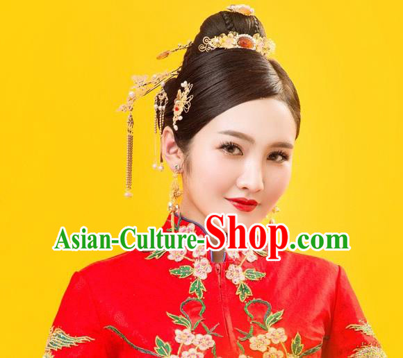 Traditional Handmade Chinese Ancient Wedding Hair Accessories Xiuhe Suit Phoenix Coronet Tassel Step Shake Complete Set, Bride Hanfu Hairpins Hair Sticks Hair Jewellery for Women
