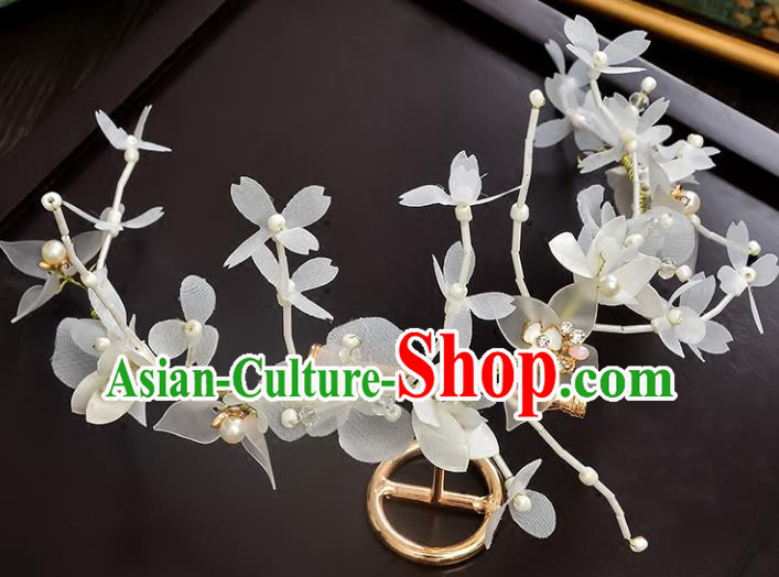 Top Grade Handmade Chinese Classical Hair Accessories Princess Wedding White Butterfly Hair Clasp Headband Bride Headwear for Women