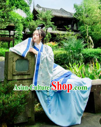 Traditional Chinese Han Dynasty Imperial Consort Hanfu Costume Blue Curve Bottom, China Ancient Dress Palace Princess Peri Printing Clothing for Women