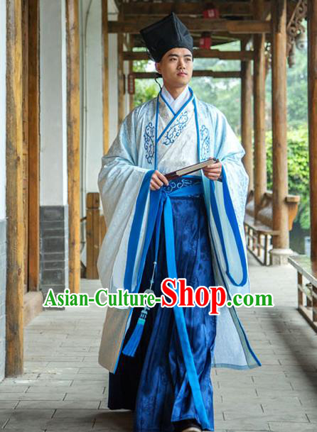 Traditional Chinese Han Dynasty Nobility Childe Hanfu Cloak Long Robe Costume, China Ancient Scholar Embroidery Clothing for Men