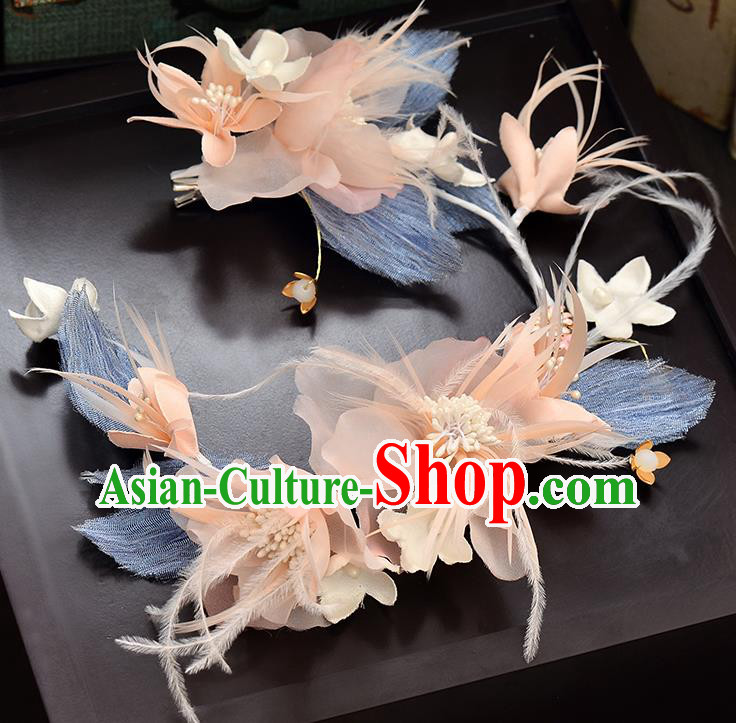 Top Grade Handmade Chinese Classical Hair Accessories Baroque Style Wedding Blue Feather Hair Clasp Headband Bride Headwear for Women