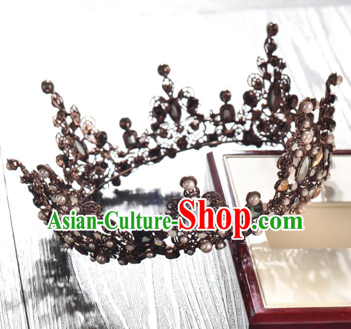 Top Grade Handmade Chinese Classical Hair Accessories Baroque Style Wedding Queen Round Royal Crown, Bride Hair Jewellery Hair Clasp for Women