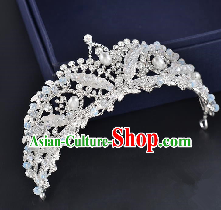 Top Grade Handmade Hair Accessories Baroque Style Wedding Crystal White Pearls Royal Crown, Bride Princess Hair Kether Jewellery Hair Clasp for Women