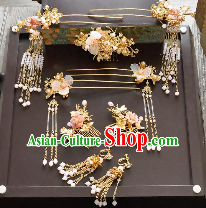 Traditional Handmade Chinese Ancient Wedding Hair Accessories Xiuhe Suit Beads Phoenix Coronet Complete Set, Bride Tassel Step Shake Hanfu Hairpins Hair Sticks Hair Jewellery for Women