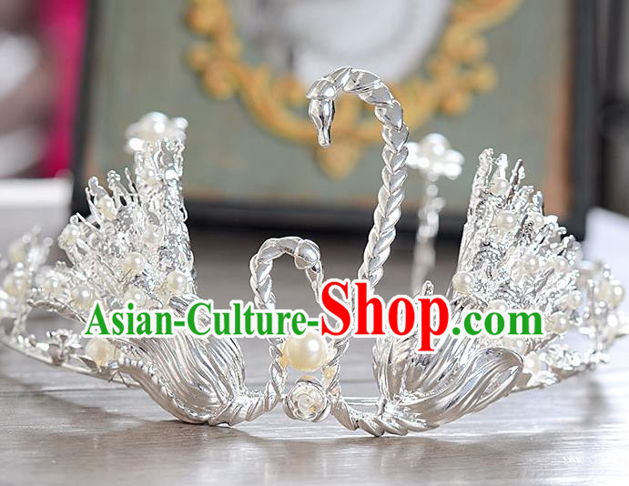 Top Grade Handmade Hair Accessories Baroque Style Wedding Crystal Swan Royal Crown, Bride Princess Hair Kether Jewellery Imperial Crown for Women