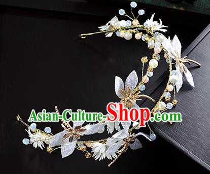 Top Grade Handmade Chinese Classical Hair Accessories Princess Wedding White Flowers Dragonfly Hair Clasp Headband Bride Headwear for Women
