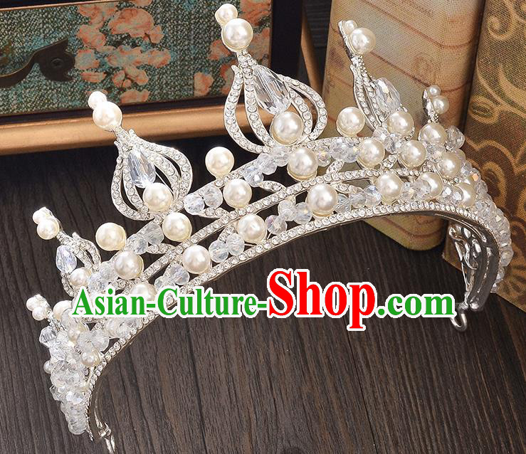 Top Grade Handmade Hair Accessories Baroque Style Wedding Crystal Pearls Royal Crown, Bride Princess Hair Kether Jewellery Imperial Crown for Women