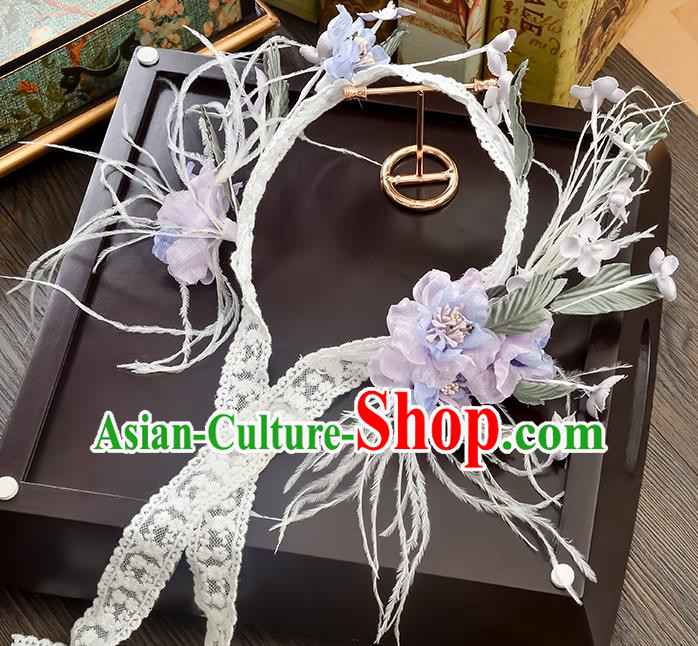 Top Grade Handmade Chinese Classical Hair Accessories Princess Wedding Purple Flower Lace Hair Clasp Hair Stick Headband Bride Headwear for Women