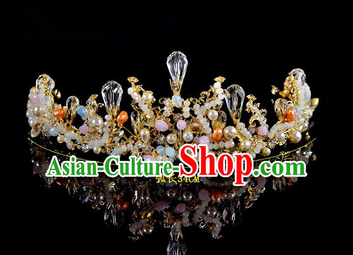 Top Grade Handmade Hair Accessories Baroque Style Palace Princess Wedding Crystal Vintage Royal Crown, Bride Hair Kether Jewellery Imperial Crown for Women