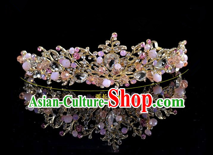 Top Grade Handmade Hair Accessories Baroque Style Palace Princess Wedding Pink Opal Vintage Royal Crown, Bride Hair Kether Jewellery Imperial Crown for Women